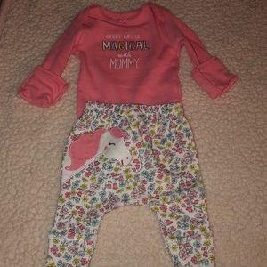 Pink colored matching set with unicorn
